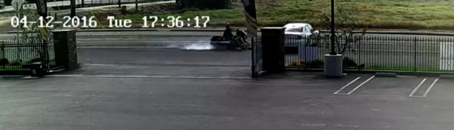 picture of a car hitting a motorcycle with a video showing the actual accident
