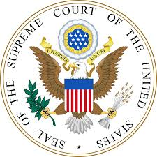 An eagle with a square flag in or over his mid section (or her midsection) and the words sealof the supreme court of the united statesDaniel Horowitz admitted to practice before the supreme court of the united states this shows a supreme court emblem with eagle on it.