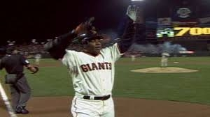Photo of Barry Bonds with link to article where dan horowitz and Michael Hassen represented steve williams, the man who got barry bonds 700th home run baseball and was then sued for grabbing it.