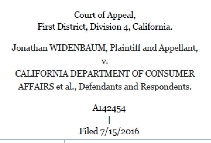 visual of court of appeal decision in widenbaum v board of chiropractic examiners with a link to the decision