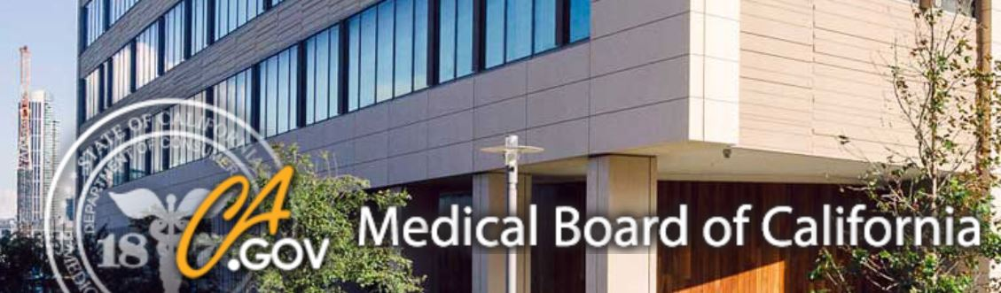 shows medical board of calfiornia office with link to horowitz medical defense website page