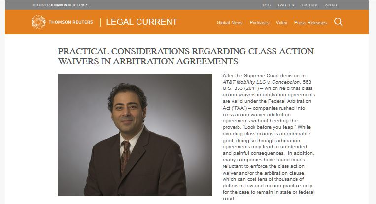 Photo of Hassen with link to Thompson Reuters website and article on class action agreements where arbitration is waived